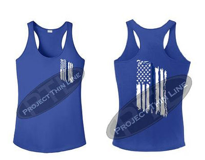 Royal Blue Womens Tattered Thin Blue Line American Flag Racerback Tank Top