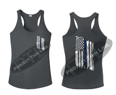 Charcoal Womens Tattered Thin Blue Line American Flag Racerback Tank Top