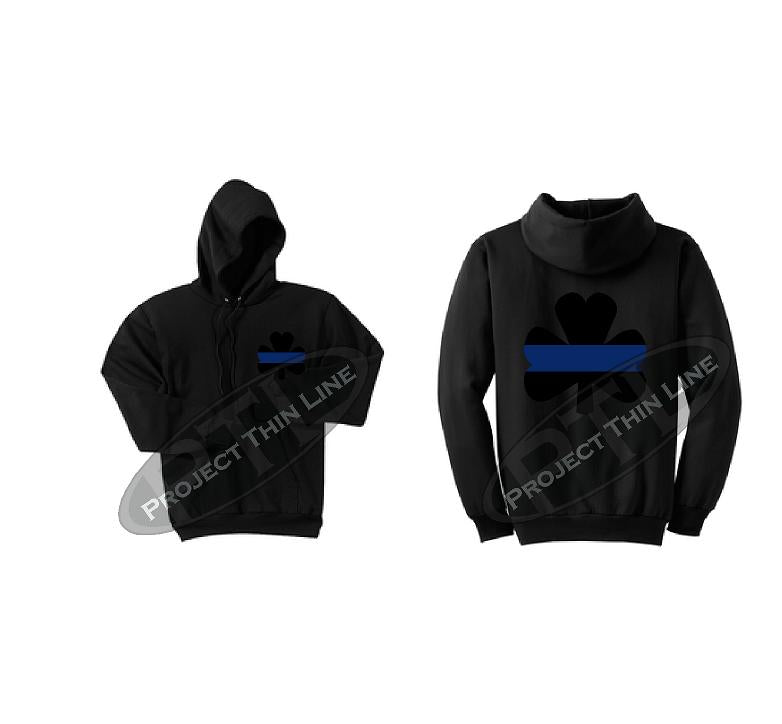 Ladies Thin BLUE Line Shamrock Clover Hooded Sweatshirt