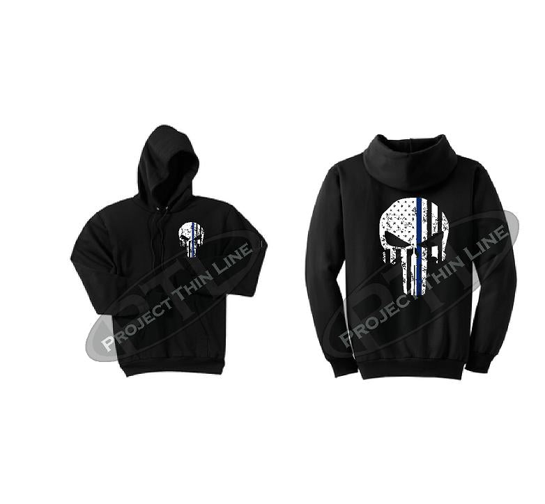 Thin BLUE Line Punisher Skull inlayed with the Tattered American Flag Hooded Sweatshirt