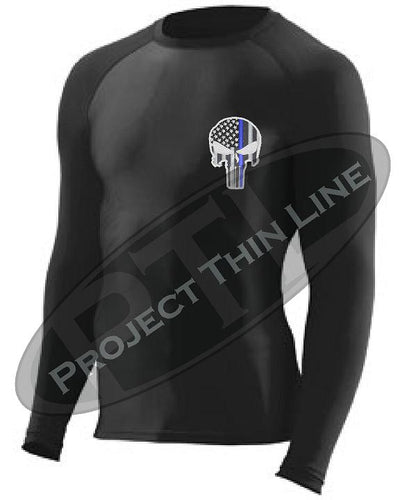 Black Embroidered Thin Blue Line Punisher Skull inlayed American Flag Long Sleeve Compression Shirt