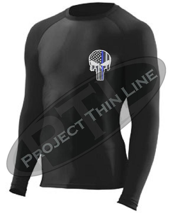 d461383e7e Black Embroidered Thin Blue Line Punisher Skull inlayed American Flag Long Sleeve  Compression Shirt