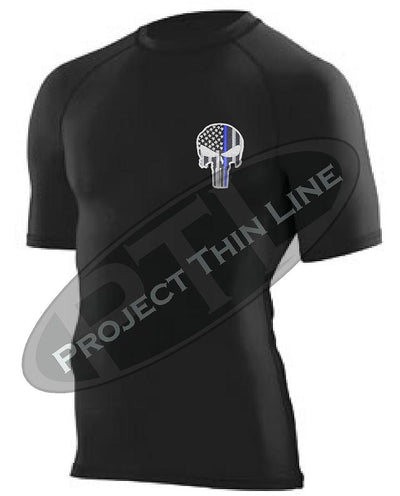BLACK Embroidered Thin Blue Line Punisher Skull inlayed American Flag Short Sleeve Compression Shirt