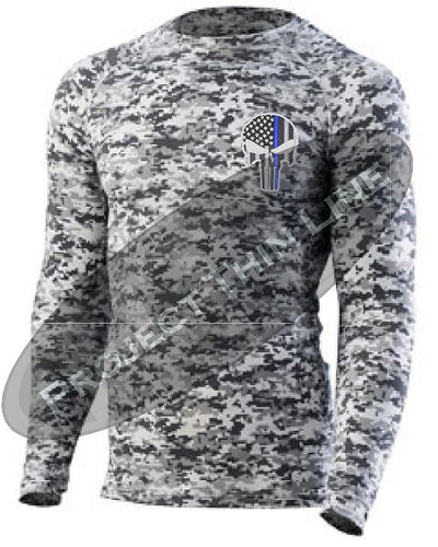 Digital Camo Embroidered Thin Blue Line Punisher Skull inlayed American Flag Long Sleeve Compression Shirt