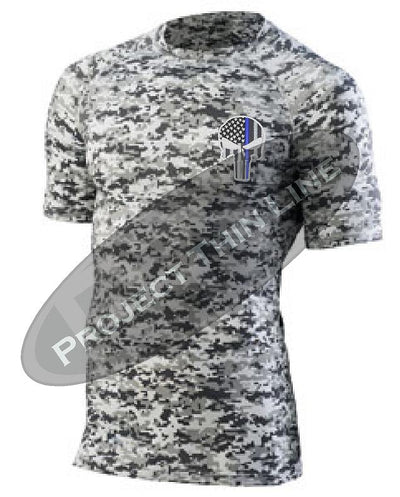 Digital Camo Embroidered Thin Blue Line Punisher Skull inlayed American Flag Short Sleeve Compression Shirt