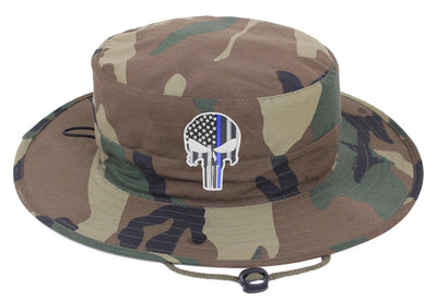 Camouflage Boonie Hat with a Subdued Thin Blue Line Punisher