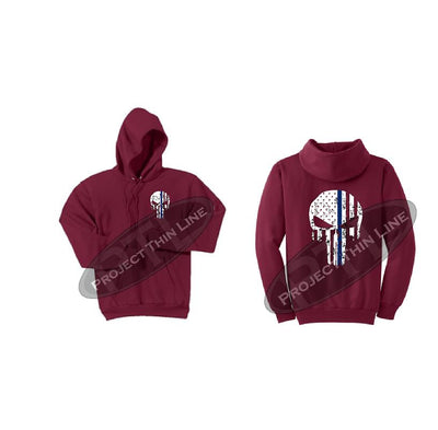 Red Thin BLUE Line Punisher Skull inlayed with the Tattered American Flag Hooded Sweatshirt