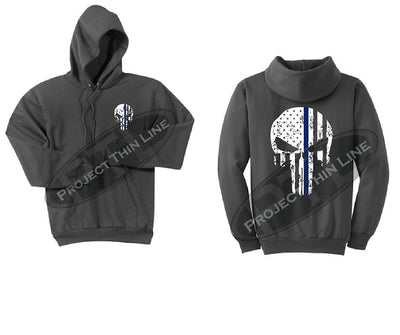 Charcoal Hoodie - Thin Blue Line Punisher Skull inlayed Tattered American Flag