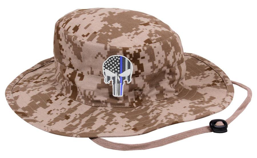 Desert Camoflage Subdued Thin Blue Line Punisher Boonie Hat 2cff83840bfc