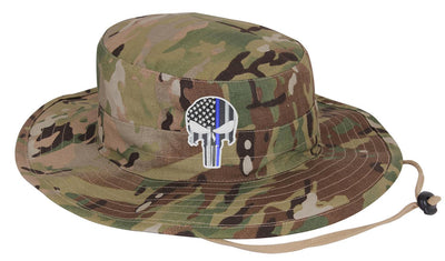 Jungle Camouflage Subdued Thin Blue Line Punisher Boonie Hat