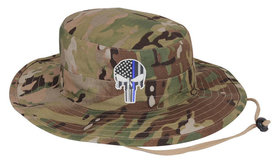 Embroidered Thin Blue Line Punisher Skull inlayed with the American Flag Boonie Adjustable Hat