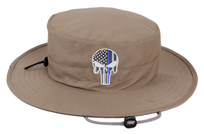 Khaki Subdued Thin Blue Line Punisher Boonie Hat