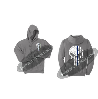Grey Hoodie with BLACK Hoodie with Thin Blue Line Punisher Skull inlayed Tattered American Flag