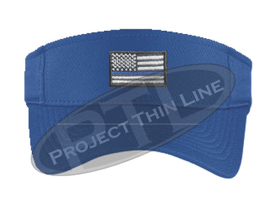 Blue Embroidered Thin Blue Line American Flag Visor
