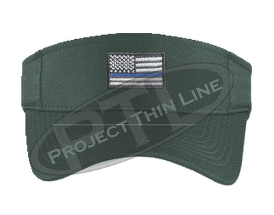 Dark Green Embroidered Thin Blue Line American Flag Visor