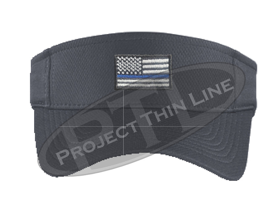 Black Embroidered Thin Blue Line American Flag Visor