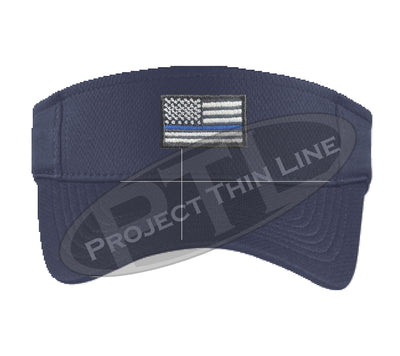 Navy Blue Embroidered Thin Blue Line American Flag Visor