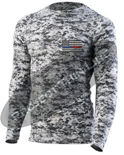Digital Camo Embroidered Thin Blue / RED Line American Flag Long Sleeve Compression Shirt