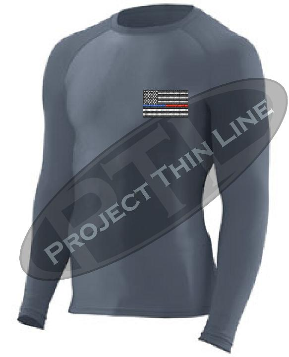 Embroidered Thin Blue / RED Line American Flag Long Sleeve Compression Shirt