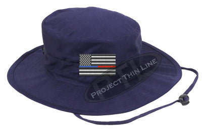 Embroidered Thin BLUE / RED Line American Flag Boonie Adjustable Hat