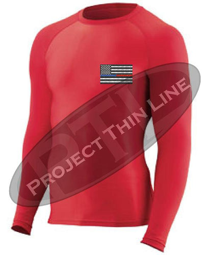Red Embroidered Thin Blue / RED Line American Flag Long Sleeve Compression Shirt