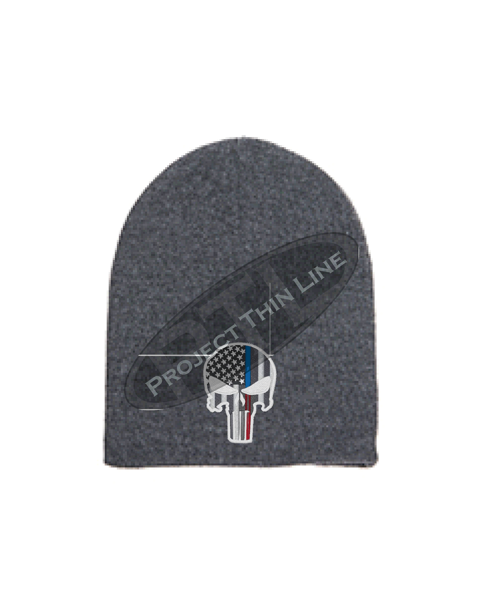 f21982217 GREY Thin BLUE / RED Line PUNISHER inlayed with American Flag Skull Cap