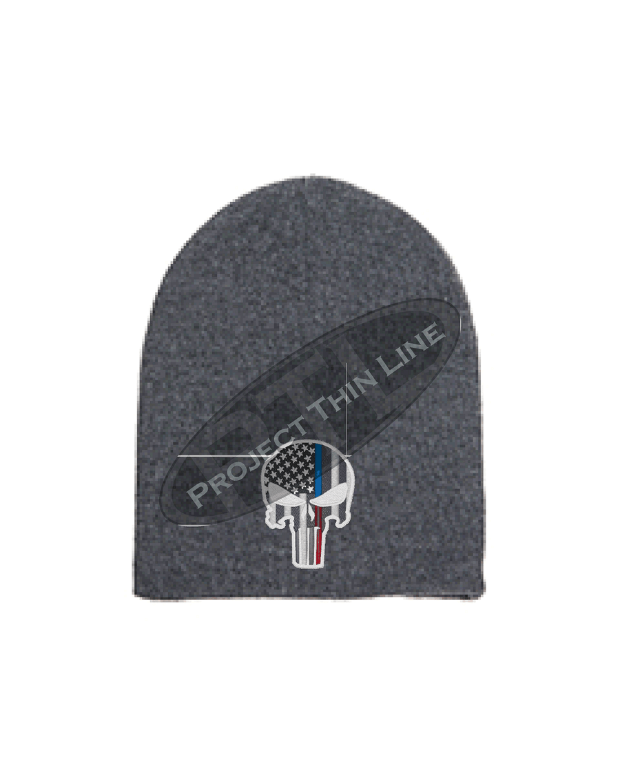GREY Thin BLUE / RED Line PUNISHER inlayed with American Flag FLEECE LINED Skull Cap