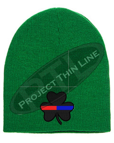 Thin Blue and Red Line Shamrock Skull Cap