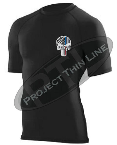 BLACK Embroidered Thin Blue / RED Line Punisher Skull inlayed American Flag Short Sleeve Compression Shirt