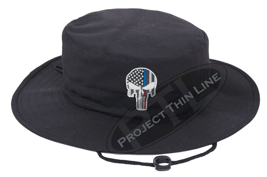 Embroidered Thin Blue / Red Line Punisher Skull inlayed with the American Flag Boonie Adjustable Hat