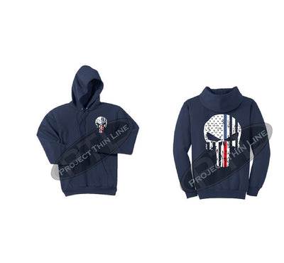 Navy Blue Black Hoodie with Blue / Red Line Punisher Skull