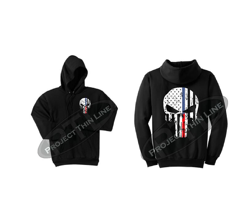 Thin BLUE / Red Line Punisher Skull inlayed with the Tattered American Flag Hooded Sweatshirt