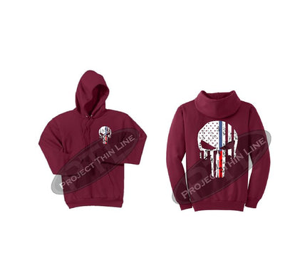 Red Hoodie with Blue / Red Line Punisher Skull