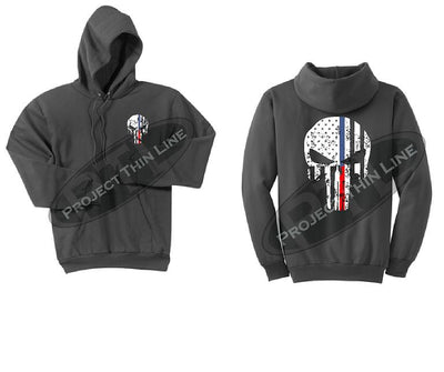 Womens Charcoal Hoodie with Blue / Red Line Punisher Skull