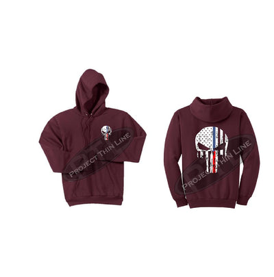 Maroon Black Hoodie with Blue / Red Line Punisher Skull