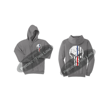 Womens Light Grey Hoodie with Blue / Red Line Punisher Skull
