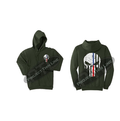 Olive Green Black Hoodie with Blue / Red Line Punisher Skull