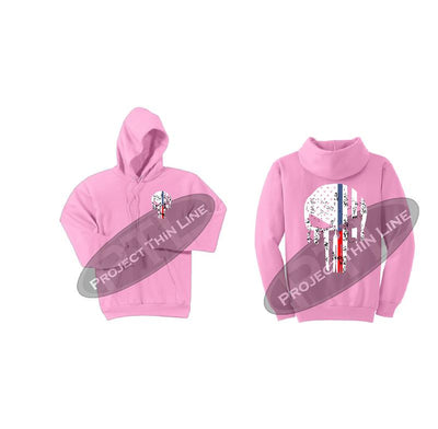Womens Pink Hoodie with Blue / Red Line Punisher Skull