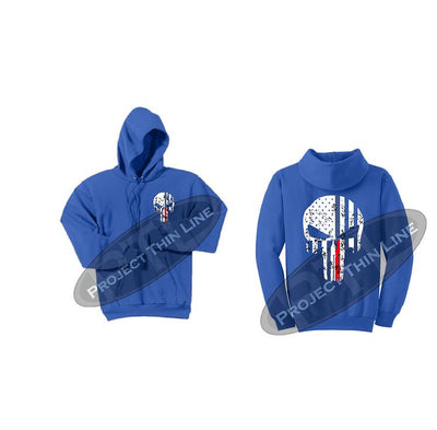 Womens ROYAL Hoodie with Blue / Red Line Punisher Skull