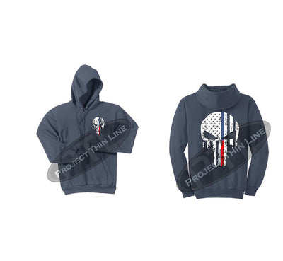 Steel Blue Black Hoodie with Blue / Red Line Punisher Skull