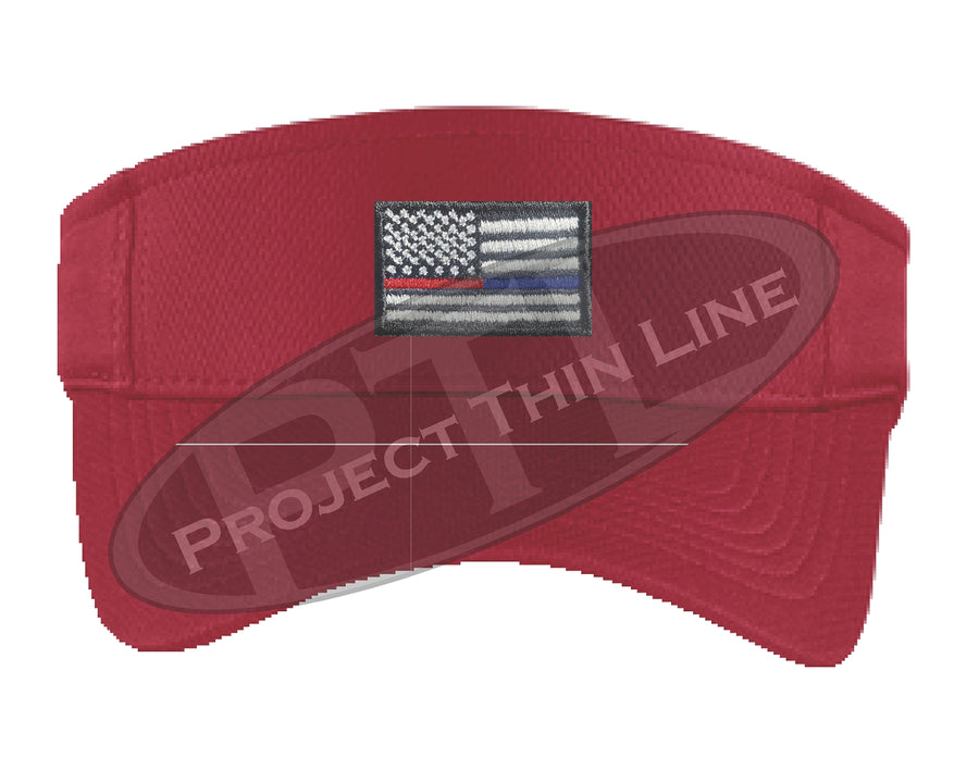 Black Embroidered Thin Blue / Red Line American Flag Visor