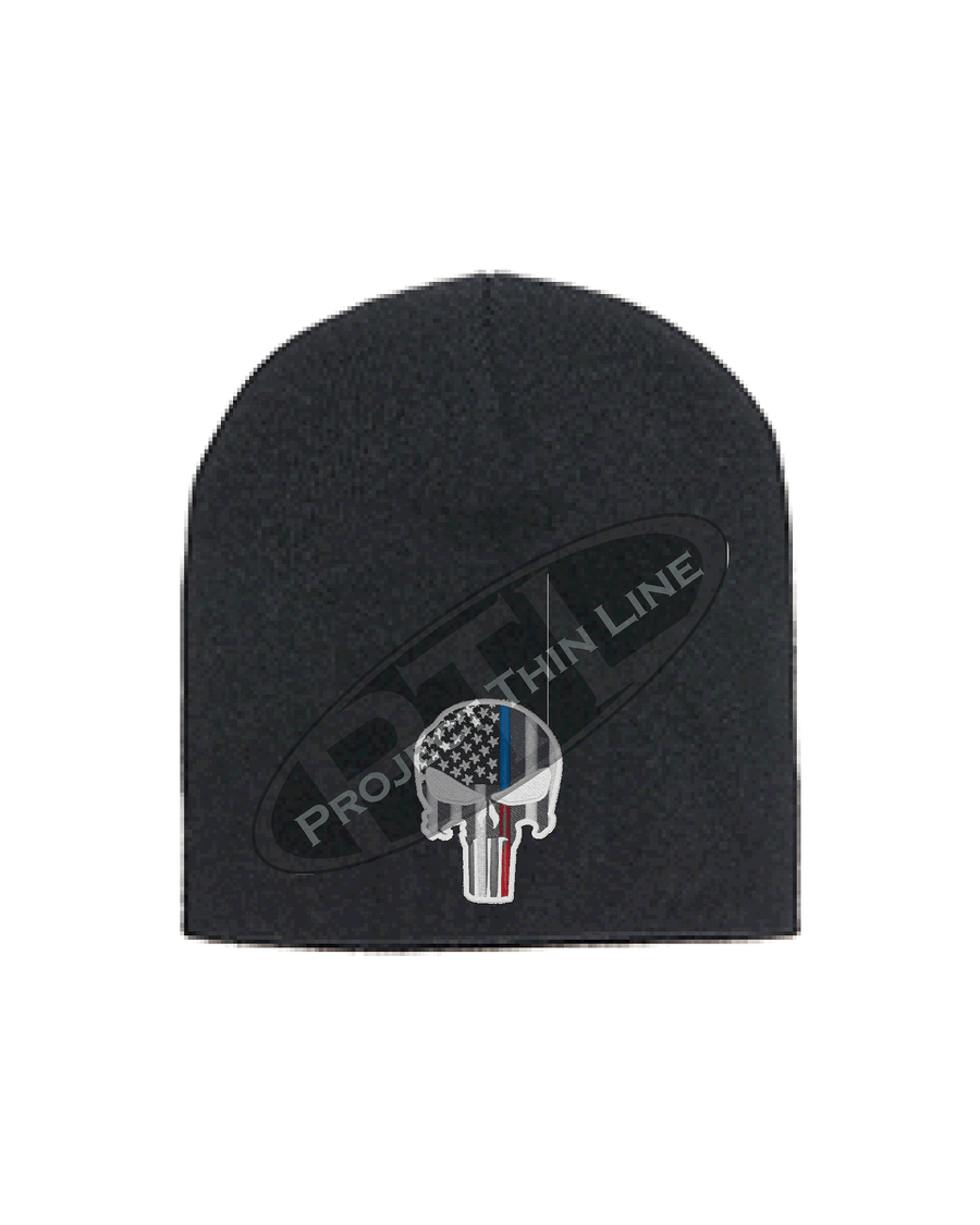 BLACK Thin BLUE / RED Line PUNISHER Skull inlayed with American Flag FLEECE LINED Skull Cap