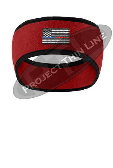 Thin Blue / Red Line American Flag 2 Tone Color Fleece Headband