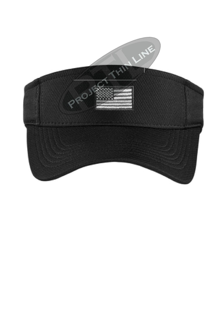 Black Embroidered Tactical Line Subdued American Flag Visor