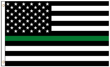 3' x 5' Poly USA Thin GREEN Line American Flag