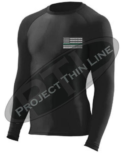 Black Embroidered Thin GREEN Line American Flag Long Sleeve Compression Shirt
