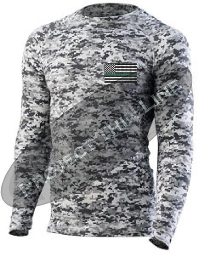Digital Camo Embroidered Thin GREEN Line American Flag Long Sleeve Compression Shirt