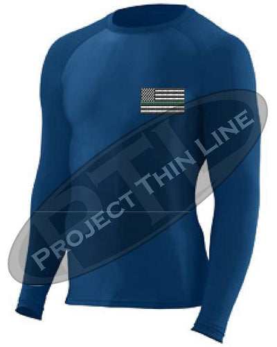 Navy Embroidered Thin GREEN Line American Flag Long Sleeve Compression Shirt
