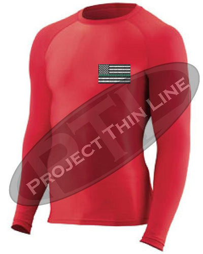 RED Embroidered Thin GREEN Line American Flag Long Sleeve Compression Shirt