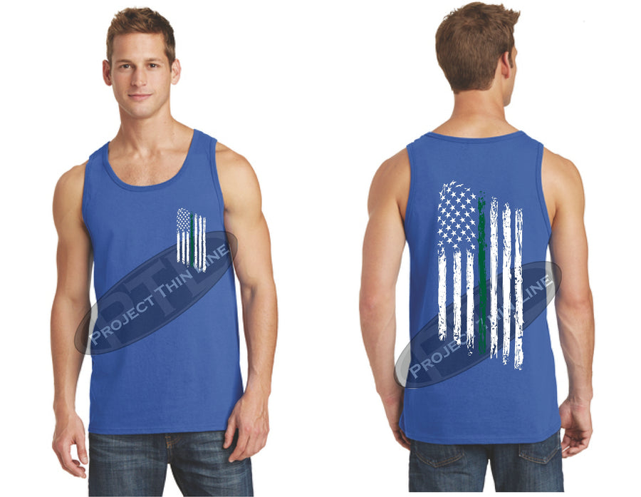 Black Thin Green Line Tattered American Flag Tank Top